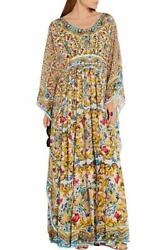 Dolce And Gabbana Printed Silk Gown Kaftan Dress Uk10 It42 New Authentic