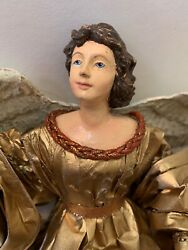 Vintage Angel Mache Wings Composition Face And Hands Hand Painted Gold Paper Dress