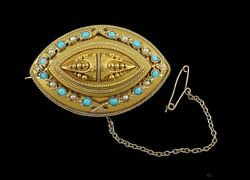 Victorian Etruscan Revival 18k Gold Turquoise Pearl Locket Pin Brooch