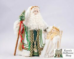 Dollhouse Miniatures Artisan Father Christmas Doll And Angel Child W/candle Wreath