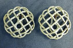 Signed Hand Made Buccellati 18k Gold Crepe De Chine Button Earrings Omega Backs