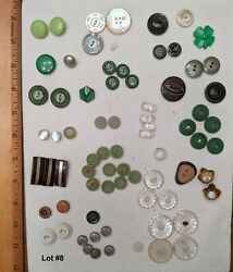 Antique And Vintage Buttons Mixed Lot Assorted Green Collectible