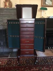 Powell Mirrored Jewelry Armoire Cabinet Chest Organizer Stand Solid Wood