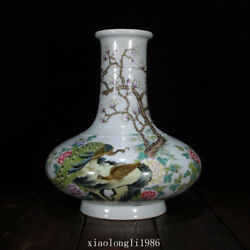 10collection China Old Antique Qing Dynasty Pastel Flower And Bird Pattern Vase