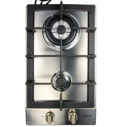 12 Inch Gas Cooktop In Stainless Steel With 2 Burners Sturdy Cast Iron Grates