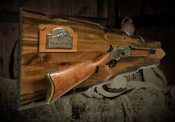 Rustic Knotty Pine Winchester Lever Action Rifle Gun Rack Wall Display Gift