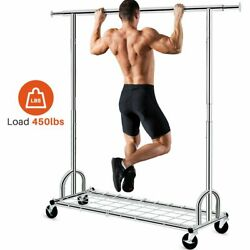 3 In 1 450lbs Collapsible Rolling Heavy Duty Clothing Garment Rack With Shelves