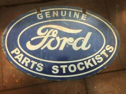 Porcelain Genuine Ford Lines Enamel Sign Size 16 X 24 Inches Double Sided