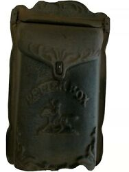 Cast Iron Wall Mount Letter Box Mail Box Pony Express 12x6.5 Vintage Style