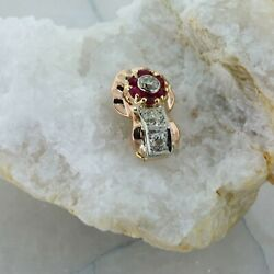 14k Rose Gold 2 Ct Tw Ruby And Diamond Pearl Enhancer