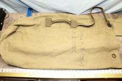 Vintage1945 Us Military Ww2 Canvas Army Duffle Bag Named 121c