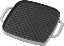 Emeril Enameled Cast Iron Reverisble Grill Griddle With Press Grey