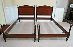 Pair Kittinger Neoclassical Style Twin Poster Beds Metal Acorn Pineapple Finials