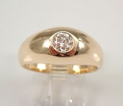 Antique Vintage 14k Yellow Gold Old Miner Diamond Gypsy Solitaire Ring Size 8.5