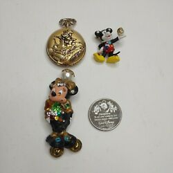 4 Piece Disney Mickey Minnie Mouse Pins Coin Pocket Watch Jewelry Gold Vintage