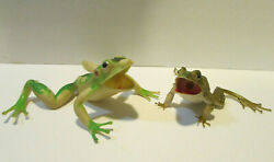 Vintage Rubber Sun Wai Frogs Squeaker Green Frog Toys Lot Of 2