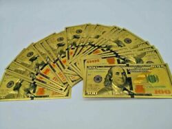 100 Pcs Collectible Gold-plated 100 Money Us Bills Notes Toy Novelty Us Seller