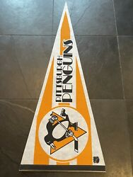 Rare Vintage Pittsburgh Penguins White And Gold Pennant Looks Mint Sharp