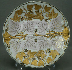 Andrea Sadek Relief Molded Gold Grapes And Pink Leaves 8 1/4 Plate C. 1936-50s B