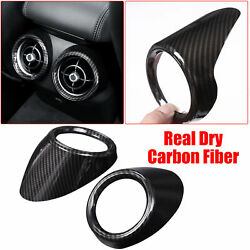 For Giulia Real Dry Carbon Fiber Rear Air Outlet Vent Ring Trim Cover 2017-2020