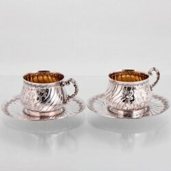 Pair Of Antique French Sterling Silver Tea Coffee Cup Saucer Set 4pc Rococo Gold