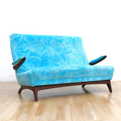 Mid Century Sofa Loveseat By Greaves And Thomas In Blue