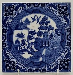 Antique Minton Willow Pattern Blue And White Tile 1882