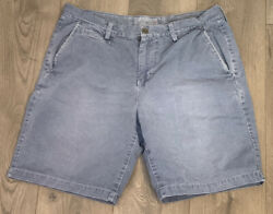 American Eagle Outfitters Mens Chino Shorts Size 36 Prep Fit Gray Flat Front