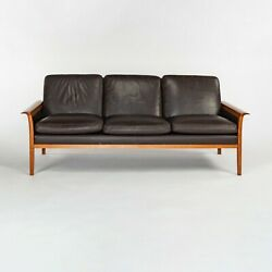 1960s Knut Saeter For Vatne Mobler 3 Seater Sofa In Brown Leather And Teak