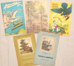 5 Pcs Vintage Books Russian Literature And Poems Old Colectible Made In Ussr
