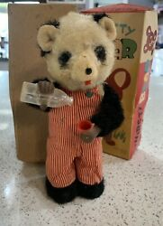 Rare Vintage 1950andrsquos Mechanical Wind Up Thirsty Bear Panda Toy In Original Box