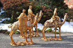 Dept 56 33061 Nativity 3 Wise Men On Camels 24 Statues Gold With Patina