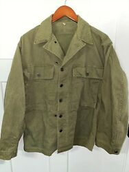 Original Wwii Us Army Hbt Shirt - 13 Star Buttons - Od Green - Large Size