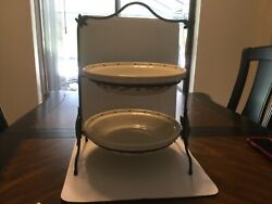 Longaberger Wrought Iron Pie Stand With 2 Americana 10 Inch Pie Plates.