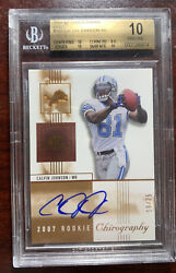 2007 Sp Chirography Gold Auto /25 Calvin Johnson Rookie Bgs 10 Pristine Pmjs