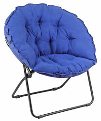 Zenithen Round Foldable Padded Dish Saucer Chair For Dorm Bedroom 32quot; Blue