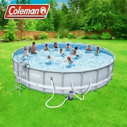 Coleman 22and039 X 52 Power Steel Frame Swimming Pool Set W/ Pump Ladder And Cover