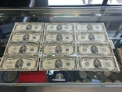 Lot Of 12 - 5 Silver Certificates Federal Reserve Notes 1953 And 1934 A D