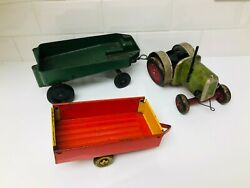 Vintage 1950s 60s Model Tractor Tin Trailer And Metal Gt Britain Trailer Toy