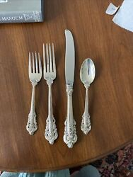 New Wallace Grande Baroque Sterling Silver 4 Piece Place Setting