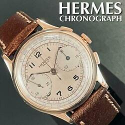 Authentic Hermes Chronograph Manual Ss 2 Tone-champagne 34mm Mint Vintage