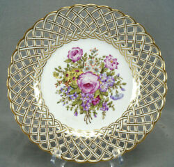 Eugene Clauss Hand Painted Pink Rose Floral And Gold Reticulated Plate 1868-1887 A