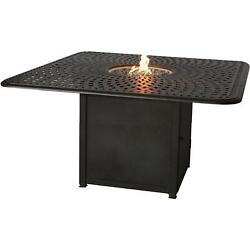 Signature 64 X 64 Inch Propane Fire Pit Dining Table By Darlee - Antique Bronze