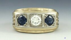 Great Vintage Diamond And Sapphire 14k Gold Ring