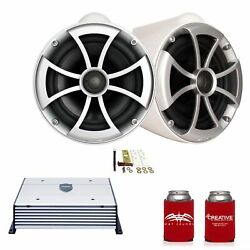 Wet Sounds Icon8w-x 8 White Tower Speakers With X-mounts And Htx2 Amp