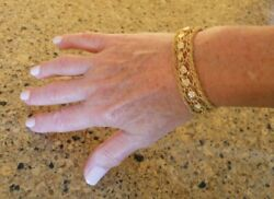 Wide Heavy Vintage 14k Gold Hearts And Flowers Charm Bracelet 7 In 21.5 G 20082