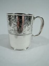 Mug - 17285b - Antique Christening Baby Cup - American Sterling Silver
