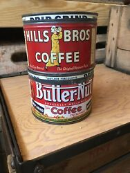 Vintage Hills Brothers Bros Butternut Butter Nut Tin Coffee Can Kitchen Decor