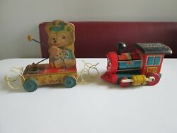 Vintage Fisher Price Huffy Puffy And Tiny Teddy Wooden Pull Toys