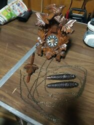 Vintage Wooden Working Cuckoo Clock West Germany W/birds Leaves Cone Weights